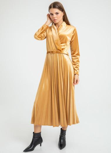 Foremia Piliseli Ceket Yaka Kadife Elbise Hardal